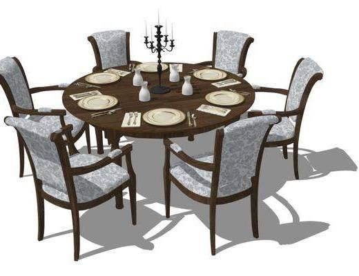 餐桌, 桌椅组合, 餐具组合, 摆件