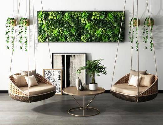 椅子, 单椅, 休闲椅, 摇椅, 茶几, 桌子, 植物, 摆件, 装饰画, 现代
