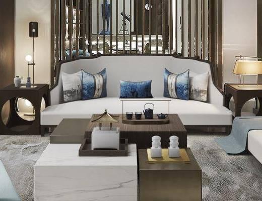 沙发组合, 茶几, 摆件组合, 单椅, 边几, 台灯
