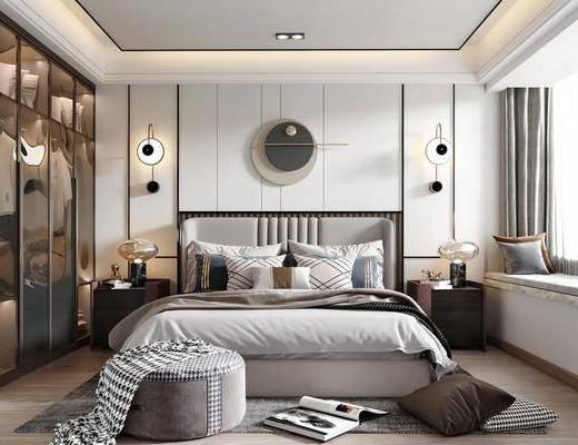 双人床, 床具组合, 衣柜, 墙饰, 壁灯, 床头柜, 台灯