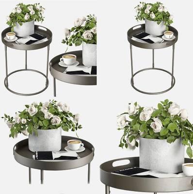 金属圆几, 花卉, 花瓶, 摆件, 边几, 现代