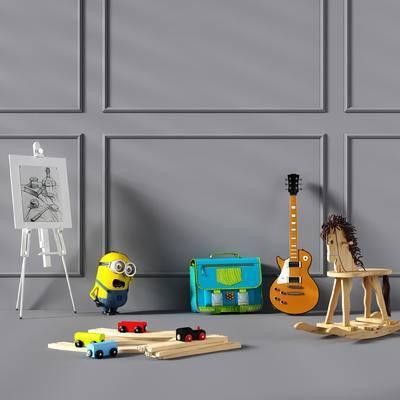 小孩房, 玩具车, 木马, 小黄人, 画板, 吉他, 书包, 玩具