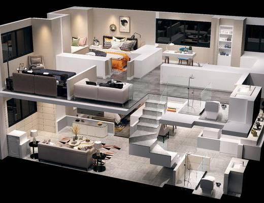 公寓鸟瞰, 客厅, 卧室, 床具组合, 沙发组合, 沙发茶几组合, 桌椅组合, 现代