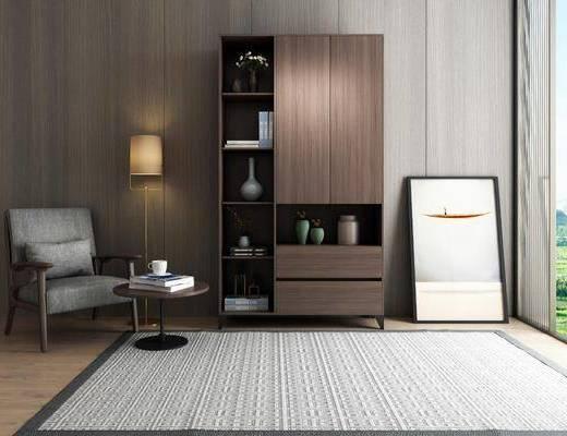 现代, 书柜, 休闲椅, 边几, 落地灯, 摆画, 地毯
