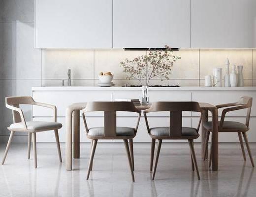 餐桌椅, 桌椅组合, 桌子, 椅子, 单椅, 休闲椅, 橱柜, 花瓶, 现代, 北欧