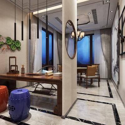 茶室, 书桌, 茶桌, 凳子, 装饰画, 挂画, 墙饰, 单人椅, 吊灯, 新中式