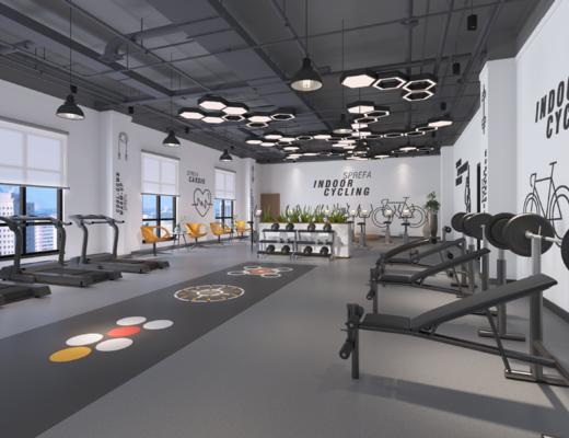 健身室, 运动器械, 吊灯