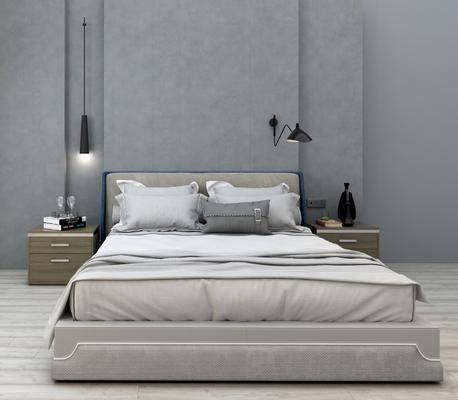 床具组合, 双人床, ?#39184;?#26588;, 吊灯, 现代