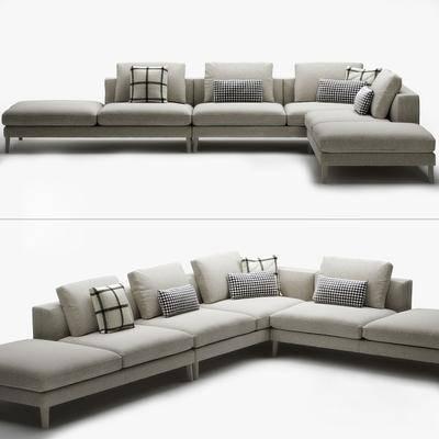 转角沙发, 布艺沙发, 多人沙发, 现代
