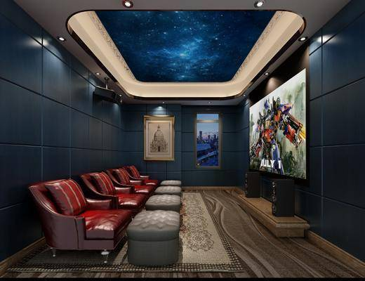 影音室, 电影院, 单人沙发, 音响, 建筑画, 现代