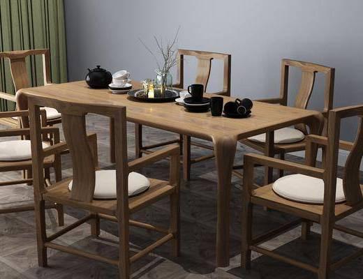 桌椅组合, 摆件组合, 新中式