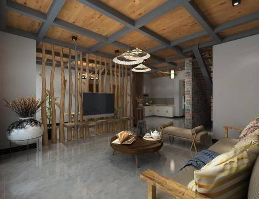 酒店客房, 大堂大厅, 沙发组合, 沙发茶几组合, 桌椅组合, 新中式