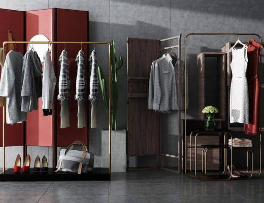衣架, 鞋子, 衣柜, 摆件, 边几, 花瓶, 花卉, 下单, 衣服