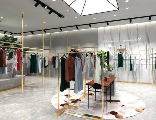 现代服装店, 衣架, 衣服
