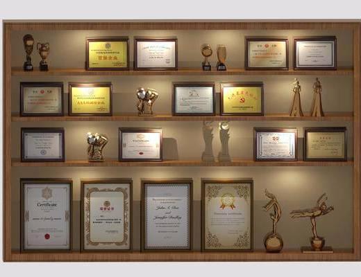 奖牌, 奖状, 置物架, 展览柜