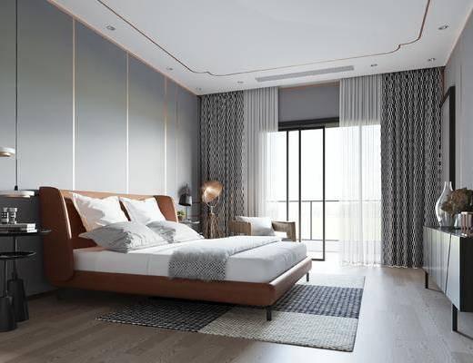 單人床, 床具組合, 吊燈, 邊柜, 落地燈