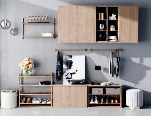 鞋柜, 现代鞋柜, 鞋子, 摆件组合