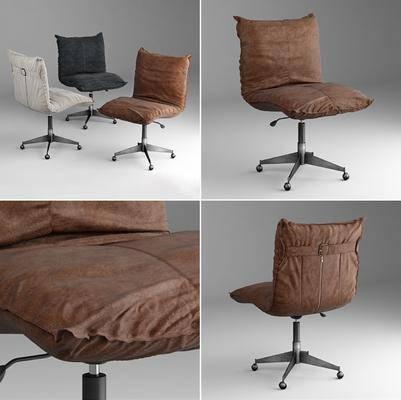 单人椅, 轮滑椅, 办公椅, 工业风