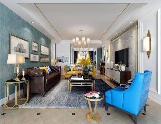 客厅, 多人沙发, 边几, 台灯, 单人沙发, 茶几, 装饰画, 挂画, 电视柜, 装饰柜, 边柜, 壁灯, 摆件, 装饰品, 陈设品, 照片墙, 吊灯, 新古典