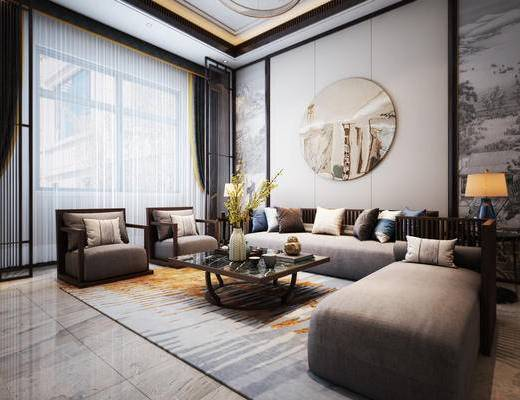 沙发组合, 茶几, 抱枕, 墙饰, 摆件组合, 窗帘