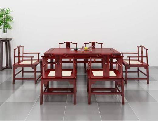 桌椅组合, 盆栽绿植, 中式