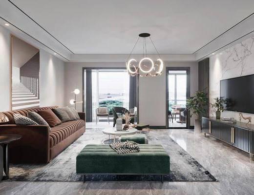 沙发组合, 吊灯, 餐桌, 墙饰, 电视柜, 摆件组合, 装饰画