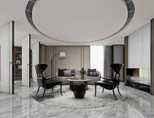 现代, 办公室, 会客区, 沙发, 单椅, 落地灯, 茶几, 植物, 装饰品, 摆件, 书架, 置物架, 书籍