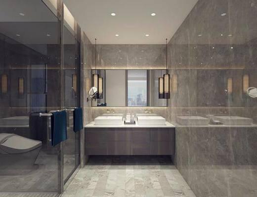 卫生间, 洗手台, 马桶, 装饰镜, 吊灯, 现代