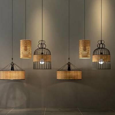 吊灯, 中式吊灯, 竹子吊灯, 竹编吊灯, 编藤吊灯, 鸟笼吊灯, 金属吊灯, 餐厅吊灯