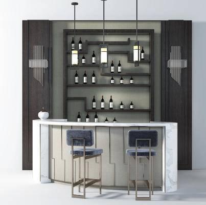 现代吧台, 吧椅, 酒柜, 吊灯, 壁灯