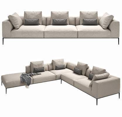 多人沙发, 现代沙发, 布艺沙发, 转角沙发, 现代布艺转角沙发, 组合, 现代