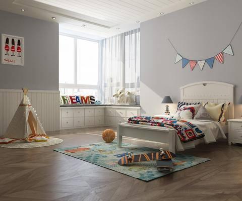 儿童房, 北欧卧室, 卧室, 床具组合, 玩具, 北欧