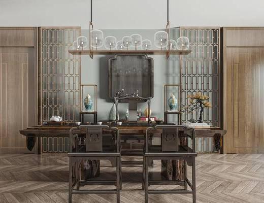 新中式茶桌椅组合, 餐桌椅, 茶桌椅