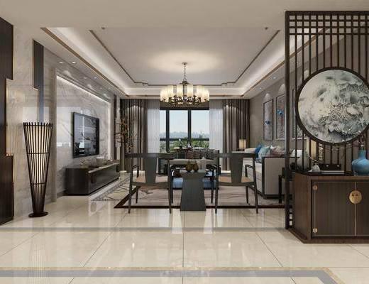 新中式, 客厅, 多人沙发, 单椅, 单人沙发, 茶几, 电视柜, 花瓶, 边几, 边柜, 挂画, 端景台