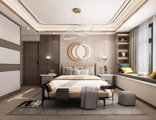 现代轻奢, 卧室, 双人床, 床头柜, 地毯, 衣柜, 墙饰