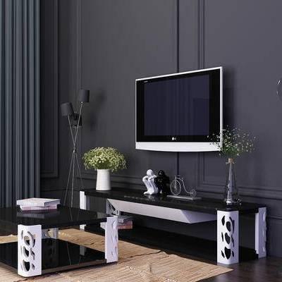 电视柜, 茶几, 摆件, 落地灯, 现代