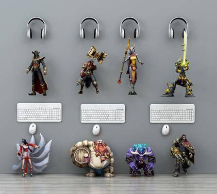 现代游戏角色, 现代, 游戏角色, 耳麦, 键盘
