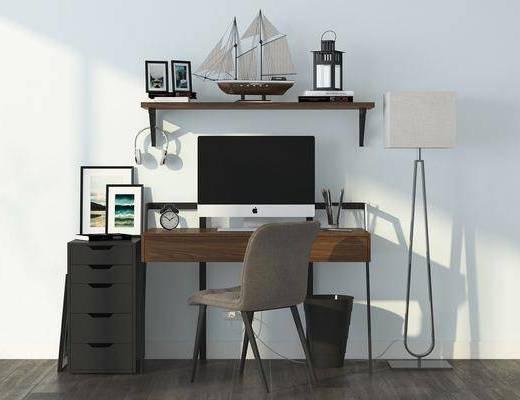 办公桌, 书桌, 单人椅, 落地灯, 装饰画, 挂画, 置物架, 装饰品, 陈设品, 北欧