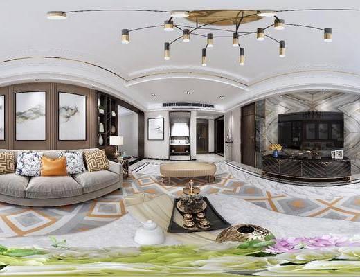 客厅, 现代, 沙发组合, 沙发茶几组合, 电视柜, 吊灯, 茶几, 多人沙发, 装饰画, 挂画