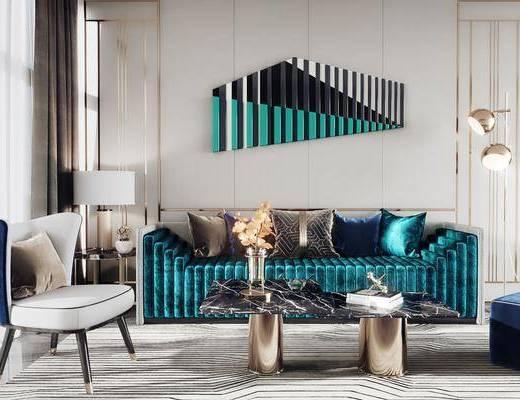 沙发组合, 墙饰, 单椅, 壁灯, 茶几, 摆件组合