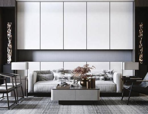 沙发组合, 茶几, 单椅, 摆件组合, 装饰品