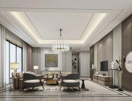 法式, 现代, 客厅, 沙发, 茶几, 吊灯, 案几, 雕塑, 挂画