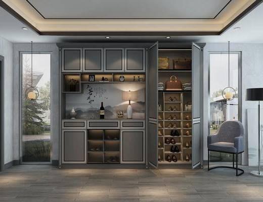 鞋柜, 装饰柜, 摆件, 装饰品, 陈设品, 吊灯, 单人沙发, 落地灯, 新中式