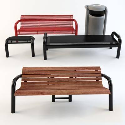 户外, 公共椅, 长凳, 垃圾桶, 现代