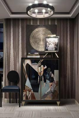 边柜, 装饰柜, 单人椅, 摆件, 装饰品, 陈设品, 现代