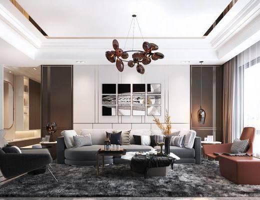 沙发组合, 单椅, 吊灯, 茶几, 摆件组合, 装饰画