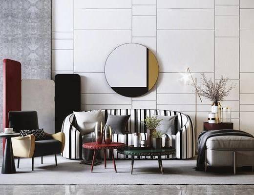 沙发组合, 单椅, 墙饰