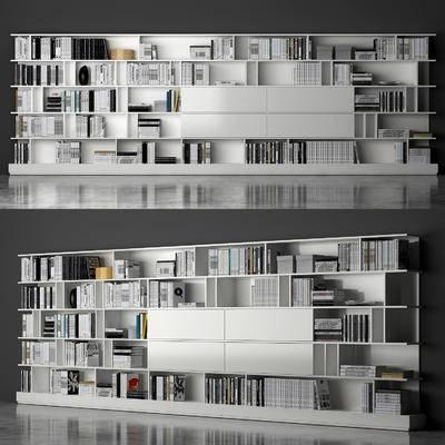 现代, 书柜, 置物柜, 装饰柜, 书籍, 陈设品, 摆件