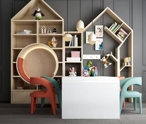 玩具, 书柜, 书架, 吊灯, 读物, 装饰品, 摆件