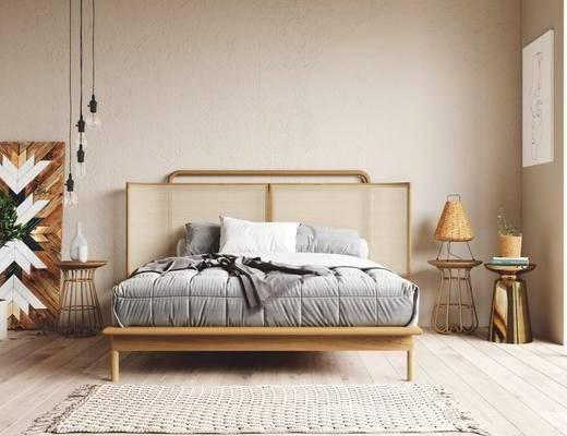 双人床, 床具组合, 床头柜, 吊灯, 地毯